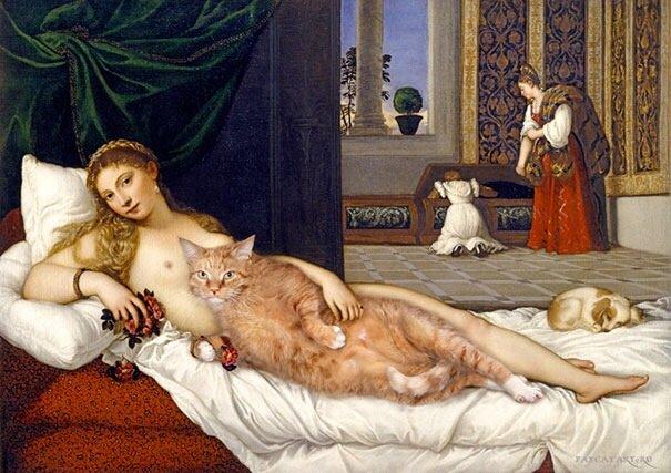 20140608 140814 50894895 ศิลปินรัสเซียวาดภาพแมวอ้วนของเขาเข้าไปในงานศิลป์ระดับคลาสสิคของโลก