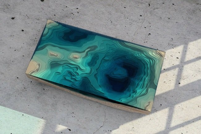 20140705 113329 41609804 โต๊ะ ที่จำลองภาพมหาสมุทร และแผ่นดินได้งดงาม จากแผ่นไม้ และกระจก