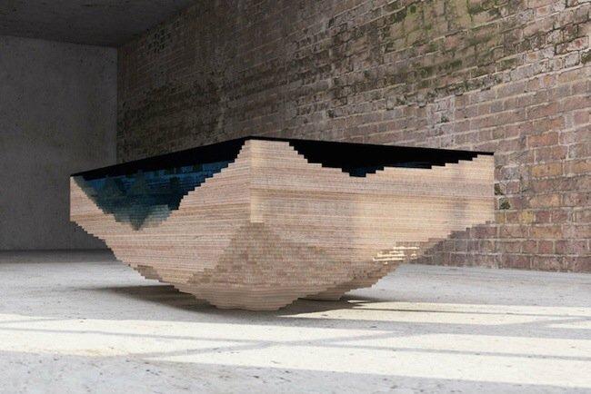 20140705 113329 41609917 โต๊ะ ที่จำลองภาพมหาสมุทร และแผ่นดินได้งดงาม จากแผ่นไม้ และกระจก