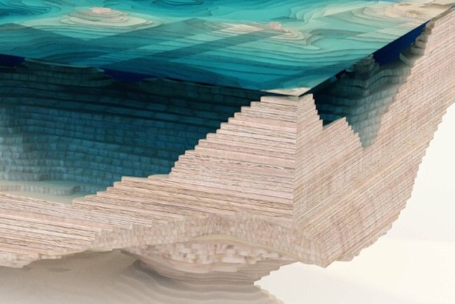 20140705 113330 41610027 โต๊ะ ที่จำลองภาพมหาสมุทร และแผ่นดินได้งดงาม จากแผ่นไม้ และกระจก