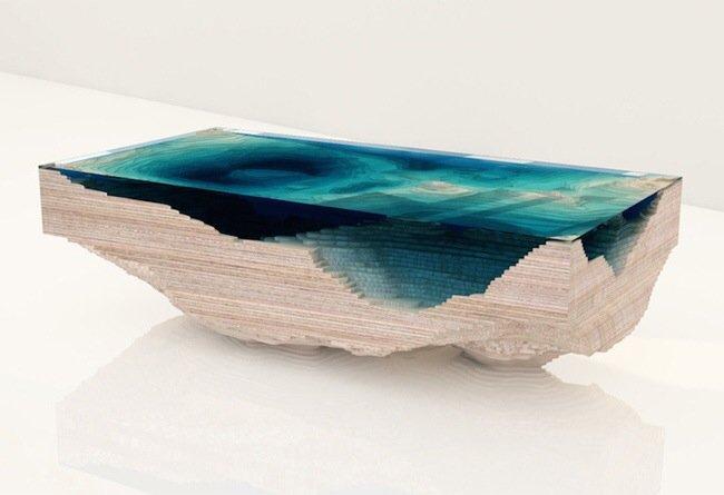 20140705 113330 41610131 โต๊ะ ที่จำลองภาพมหาสมุทร และแผ่นดินได้งดงาม จากแผ่นไม้ และกระจก