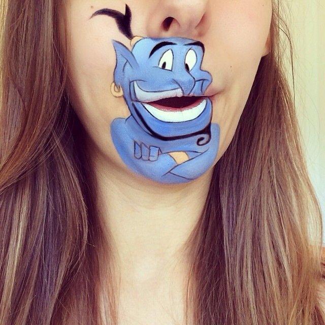 IMG 4374 ศิลปินช่างแต่งหน้า สร้างภาพการ์ตูนให้มีชีวิตบนปากและคางของเธอ