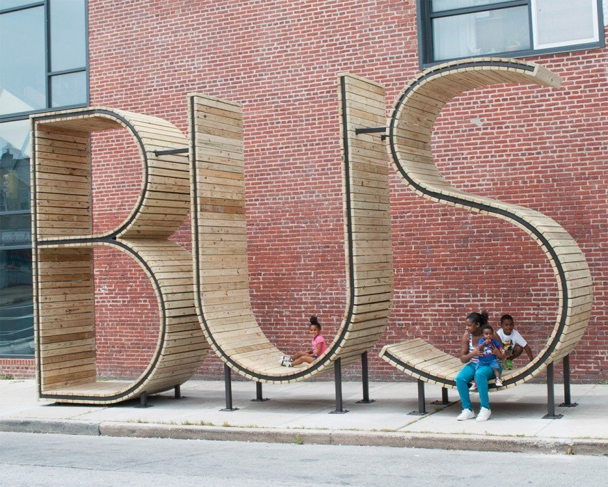 wpid bus 2 ประติมากรรม ป้ายรถเมล์ Typographic : BUS