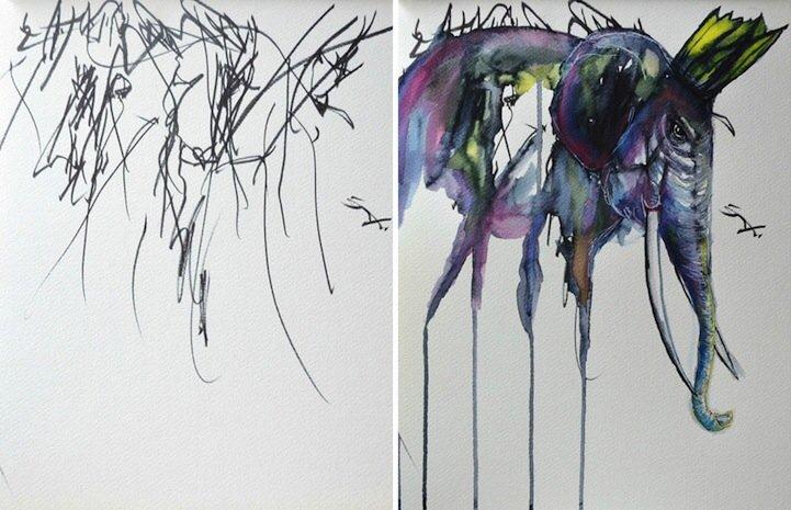 IMG 5199 ศิลปินเปลี่ยนภาพขีดเขียนเลอะๆของลูกสาววัย2ขวบ เป็นงานศิลปะ