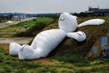 กระต่ายยักษ์สีขาวขนาด 82ฟุต นอนชมจันทร์บนโรงเก็บเครื่องบินเก่า 10 - installation art