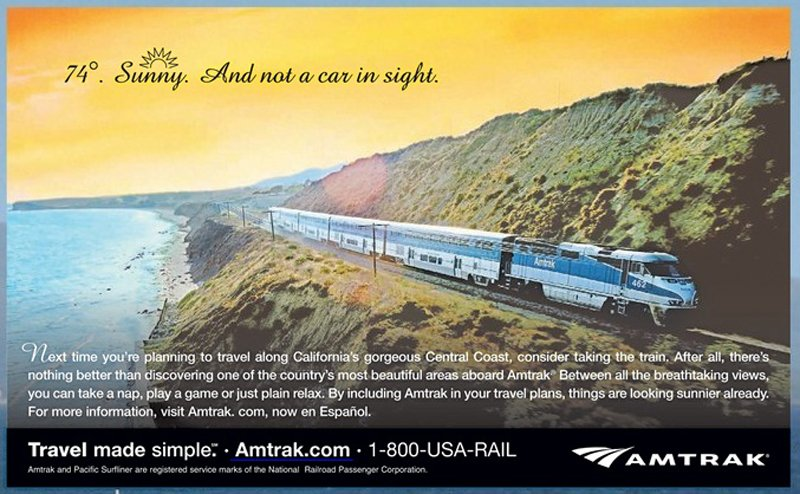 AmtrakCoastalAd Pacific Surfliner หนึ่งในเส้นทางรถไฟที่มีทิวทัศน์ดีที่สุด