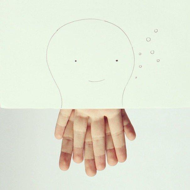 เมื่อศิลปินอารมณ์ดี สร้างภาพลายเส้นง่ายๆ กับนิ้วมือของเขาเอง 13 - Artist