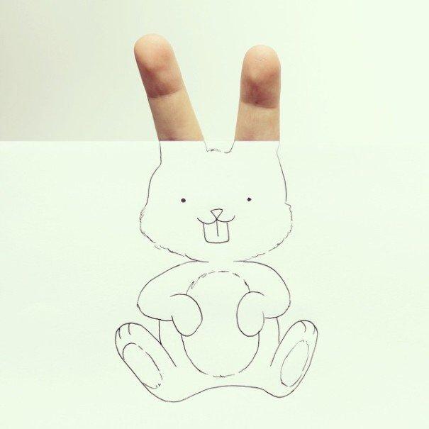IMG 7215 เมื่อศิลปินอารมณ์ดี สร้างภาพลายเส้นง่ายๆ กับนิ้วมือของเขาเอง