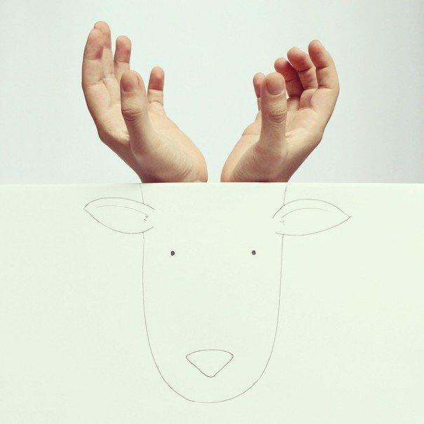 IMG 7216 เมื่อศิลปินอารมณ์ดี สร้างภาพลายเส้นง่ายๆ กับนิ้วมือของเขาเอง