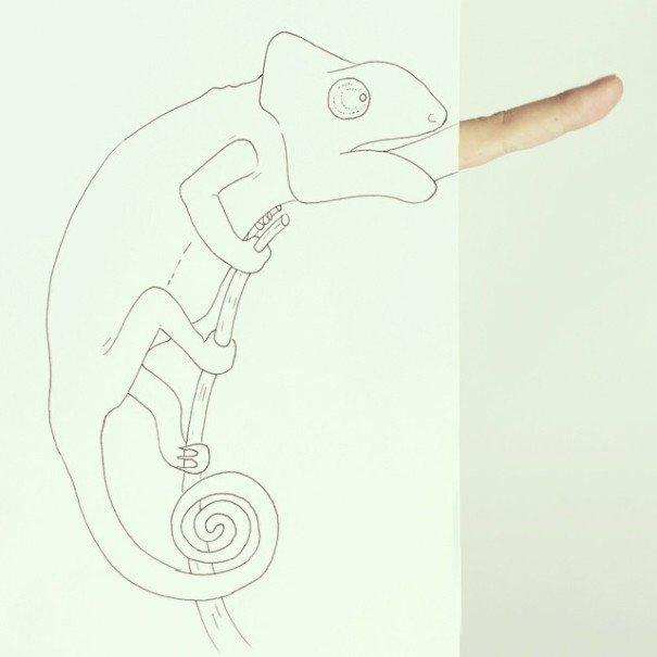 IMG 7217 เมื่อศิลปินอารมณ์ดี สร้างภาพลายเส้นง่ายๆ กับนิ้วมือของเขาเอง