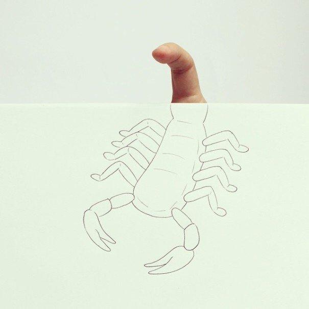 IMG 7220 เมื่อศิลปินอารมณ์ดี สร้างภาพลายเส้นง่ายๆ กับนิ้วมือของเขาเอง