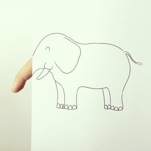 IMG 7223 เมื่อศิลปินอารมณ์ดี สร้างภาพลายเส้นง่ายๆ กับนิ้วมือของเขาเอง
