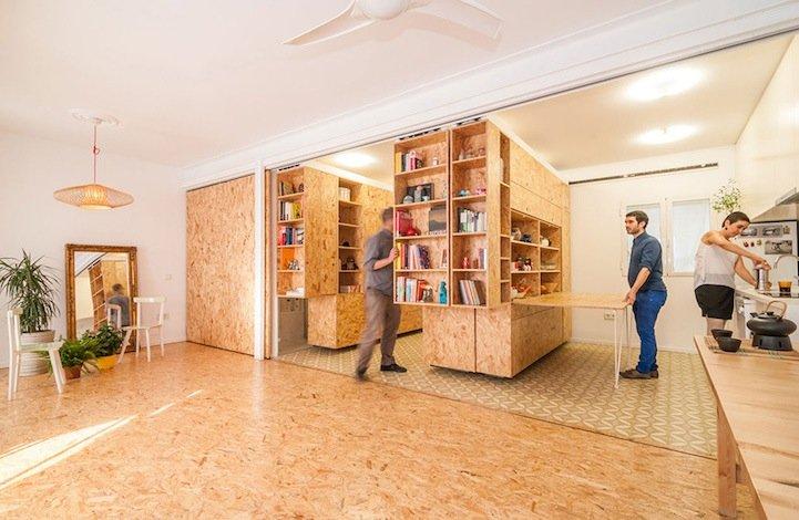 ตู้ที่เลื่อนไปมา ทำให้เกิดพื้นที่ทั้งห้องนอน ห้องนั่งเล่น ห้องครัว..เเหมาะสำหรับบ้านขนาดเล็ก 13 - คอนโด