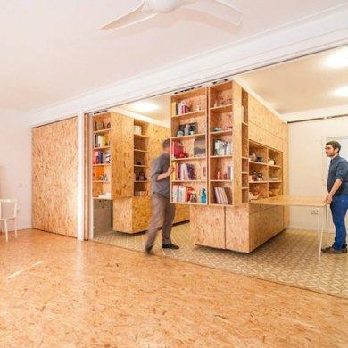 ตู้ที่เลื่อนไปมา ทำให้เกิดพื้นที่ทั้งห้องนอน ห้องนั่งเล่น ห้องครัว..เเหมาะสำหรับบ้านขนาดเล็ก 14 - คอนโด