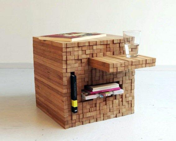 IMG 7909 0 กองไม้รวมกันเป็นโต๊ะ ชั้น ช่องเก็บของ เพียงดันไม้เข้าไป หรือดึงไม้ออกมา