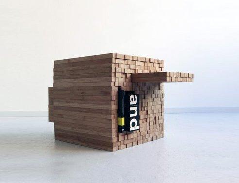 IMG 7912 0 กองไม้รวมกันเป็นโต๊ะ ชั้น ช่องเก็บของ เพียงดันไม้เข้าไป หรือดึงไม้ออกมา