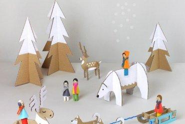 DIY: สวนหรรษาในวันคริสต์มาส Peg dolls Winter Wonderland on Christmas's Day 21 - DIY
