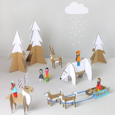 DIY: สวนหรรษาในวันคริสต์มาส Peg dolls Winter Wonderland on Christmas's Day 28 - christmas