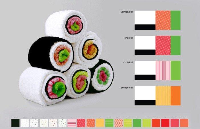 เมื่อผ้าใช้ในครัวกลายเป็นอาหารน่าทาน Sushi Rolls 25 - ห้องครัว