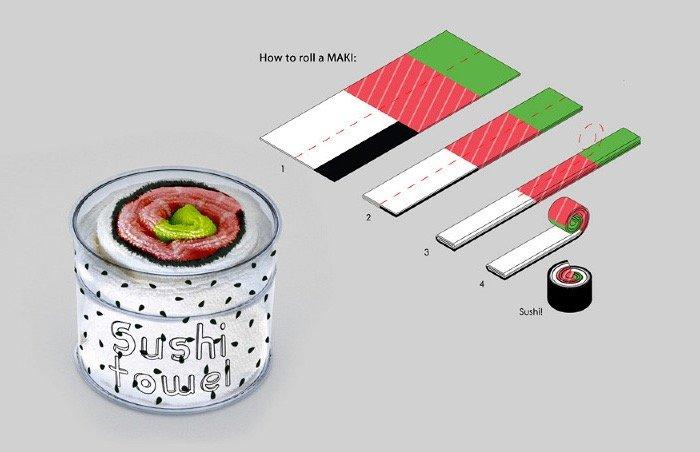 เมื่อผ้าใช้ในครัวกลายเป็นอาหารน่าทาน Sushi Rolls 15 - Gift