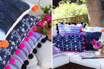 DIY : เพิ่มความน่ารักให้หมอน ด้วยปอมปอมสีสวย 8 - pillow