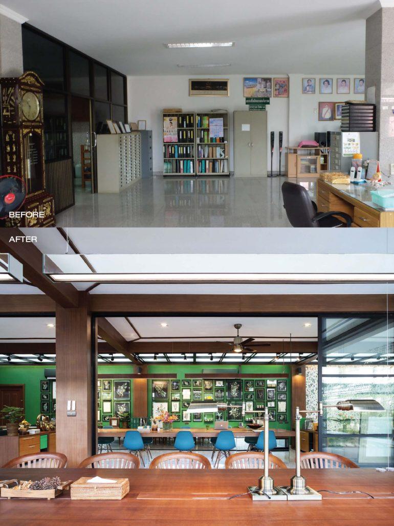 """รีโนเวทตึกแถวเก่าเป็นออฟฟิศผลิตภัณฑ์สมุนไพรสไตล์วังเก่าภายใต้แนวคิด """"โมเดิร์นสามพราน"""" 14 -"""