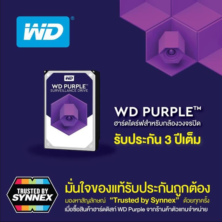 """มั่นใจของแท้ รับประกันถูกต้อง มองหาสัญลักษณ์ """"Trusted by Synnex"""" ทุกครั้งที่ซื้อสินค้าฮาร์ดดิสก์ WD Purple สำหรับงานกล้องวงจรปิด 13 -"""