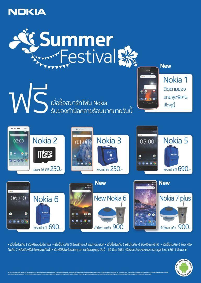 โนเกียสมาร์ทโฟนจัดโปรโมชั่นคลายร้อน Summer Festival รับของสมนาคุณมากมาย ตั้งแต่วันนี้ ถึง 30 มิถุนายน 2561 13 -