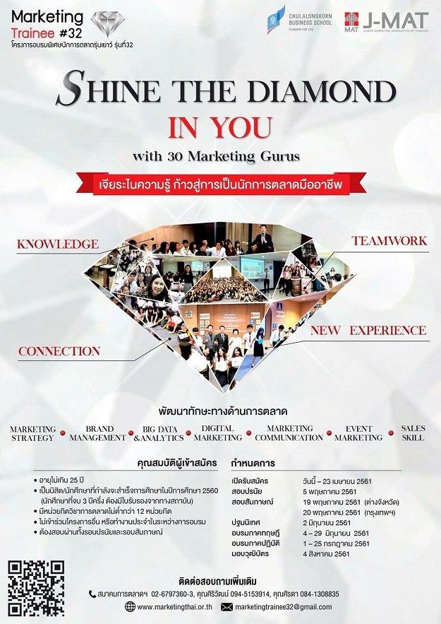 เปิดรับสมัคร โครงการอบรมพิเศษนักการตลาดรุ่นเยาว์ หรือ Marketing Trainee รุ่นที่ 32 แล้วจ้า 13 -