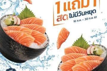 ร้านอาหารญี่ปุ่นเซ็นจัดโปรฯ สุดคุ้ม แซลมอนซาชิมิ 1 แถม 1 อิ่มอร่อยจุใจ กับแซลมอนสดไม่มีวันหยุด ส่งตรงจากนอร์เวย์