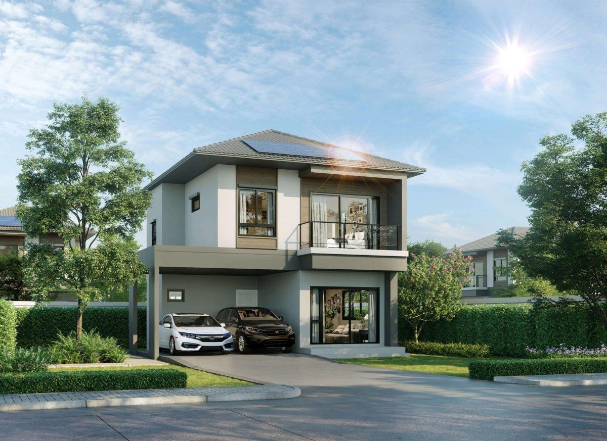 house sena solar 1 ซื้อบ้านใหม่ ใช้ไฟฟรี SENA ทันสมัยจัดให้พร้อมพลัง Solar ที่ Scale Up คำนวนไฟก่อนซื้อได้