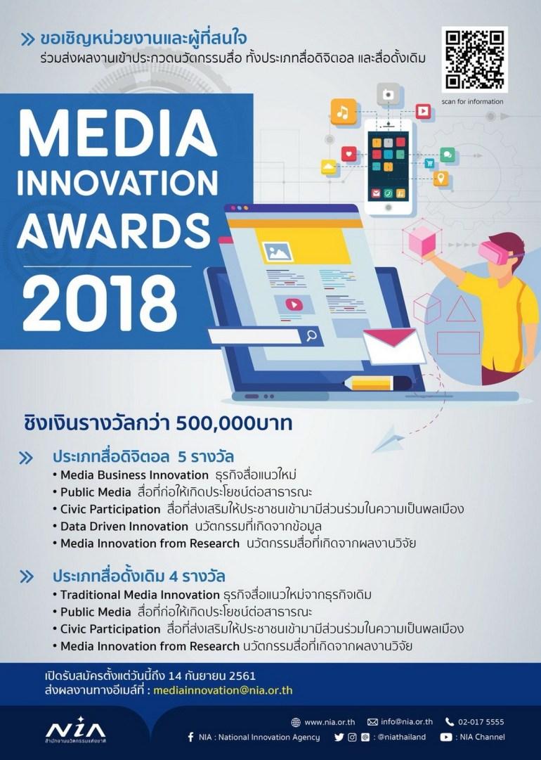 สำนักงานนวัตกรรมแห่งชาติ ขอเชิญส่งผลงานเข้าร่วมประกวดนวัตกรรมด้านสื่อ Media Innovation 13 -