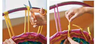 ถักทอพรมจากเสื้อยืดเก่า และ Hula Hoop 17 - easy craft