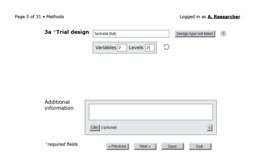Figure 5: The user has chosen a full factorial design, and the system automatically brings up a box asking the user to fill in the number of variables and levels.