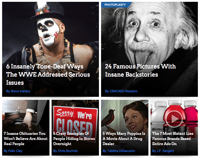 """Insane"" or ""insanely"" appears in four of the six articles on the front page of Cracked."
