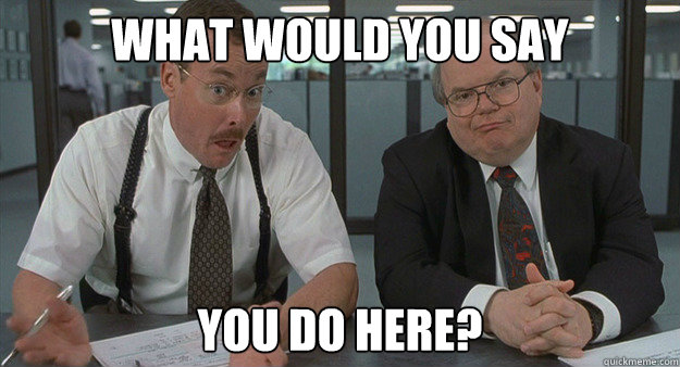 "The two Bobs from the movie ""Office Space,"" saying ""What would you say you do here?"""