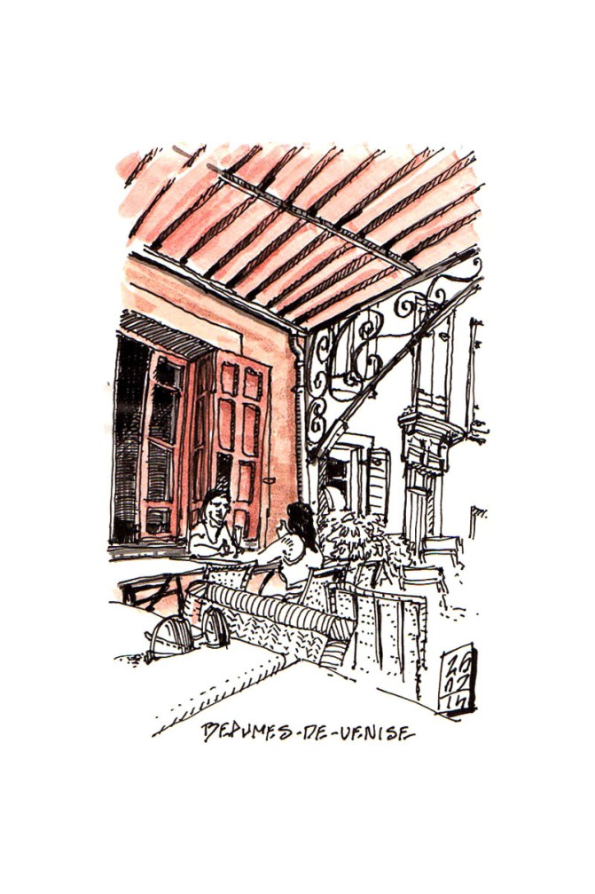 urban sketch french bistro