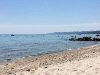 The beach at Pallini Beach Hotel by the bungalows and Aegean Melathron Thalasso Spa Hotel