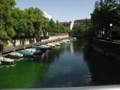 Boats on the Sihl River in Zurich