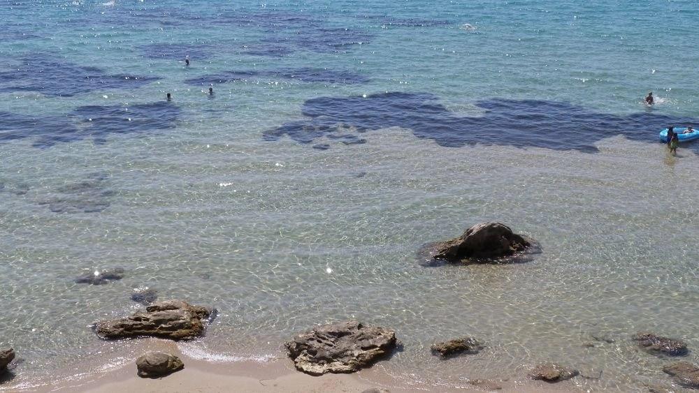 Crystal-clear sea at Mykoniatika Beach