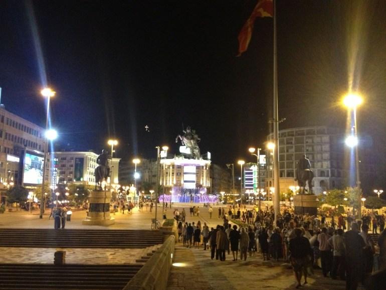 Skopje City Center view from Stone Bridge