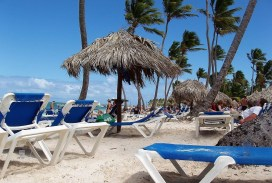 Sunbeds in the beach in punta cana
