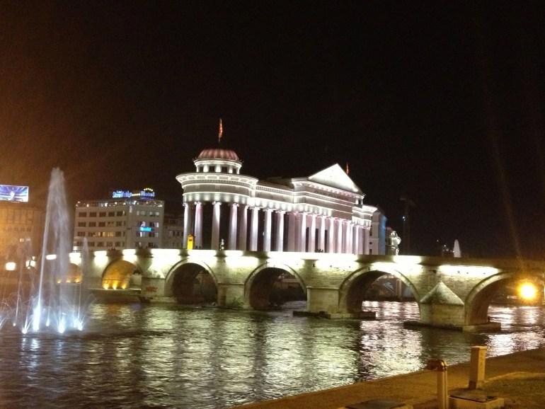 The Stone Bridge at night in Skopje