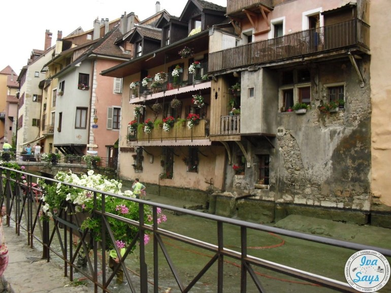 Nicely decorated houses with an older style architecture in Annecy, France