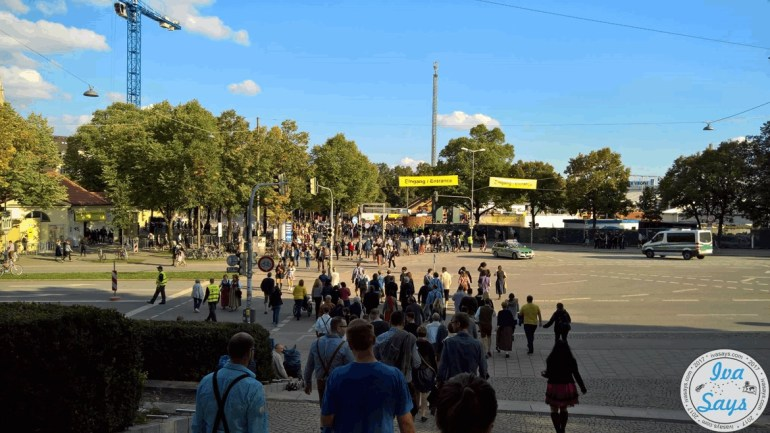 Crowds by the exit and entrance at Oktoberfest
