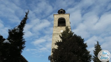 The bell tower of the Holy Trinity Church in Bansko, Bulgaria