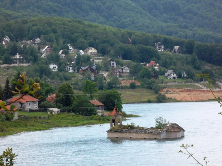 St. Nikola Leten in Mavrovo, Macedonia, also known as the church that is underwater being located in the middle of the Mavrovo Lake.
