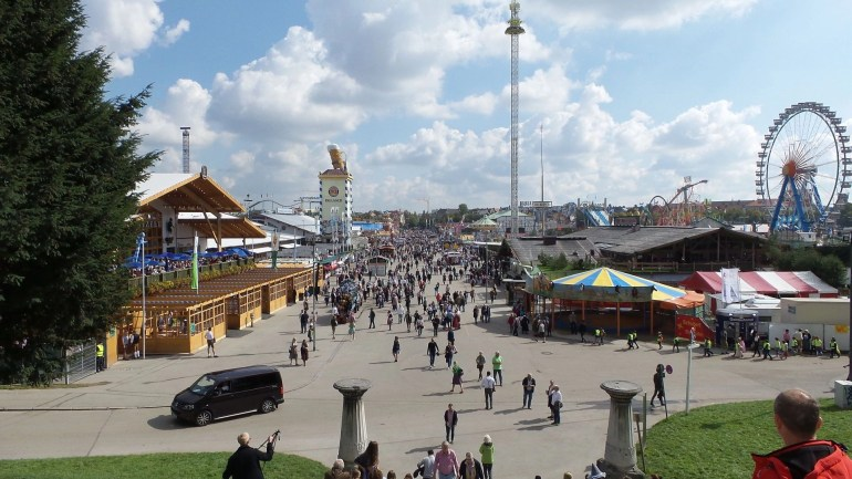 View from the top of the Bavaria Statue at Oktoberfest Munich 2017