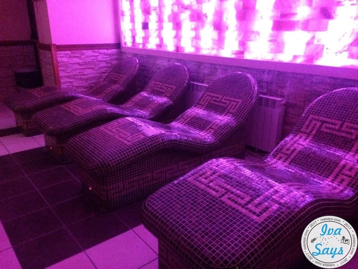 Heated seats in the spa and wellness center at St. George Ski and Spa Hotel in Bansko, Bulgaria