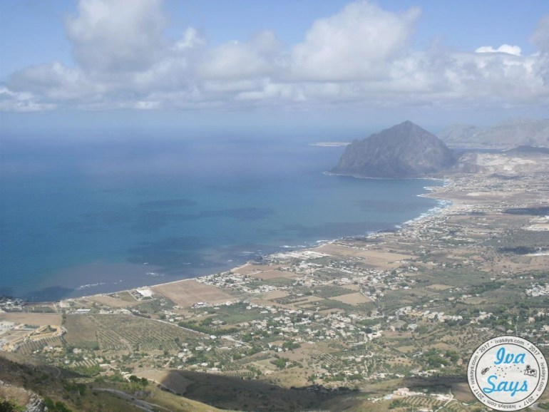 View to Mount Cofano from Castle of Venus in Erice, Sicily.